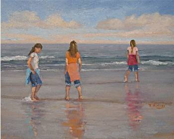 Three Girls Wading